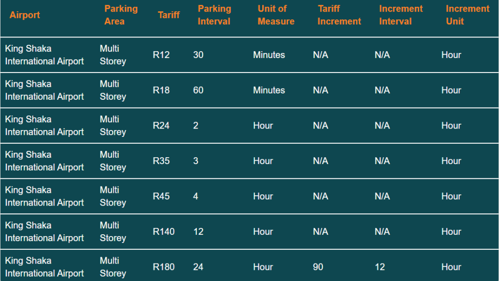 king shaka airport parking tariff multi storey parking