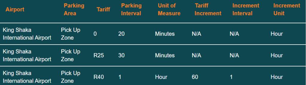 king shaka airport parking tariff pick up parking