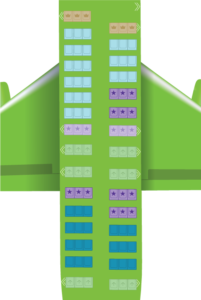 Kulula Airlines in flight seating